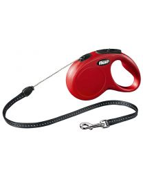 Flexi New Classic Cord Dog Lead, Red 12kg - Small, 5m (16ft)