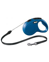 Flexi New Classic Cord Dog Lead, Blue 12kg - Small, 5m (16ft)