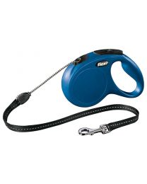 Flexi New Classic Cord Dog Lead, Blue 20kg - Medium, 5m (16ft)