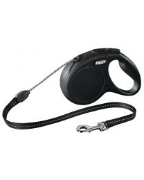 Flexi New Classic Cord Dog Lead, Black 20kg - Medium, 5m (16ft)
