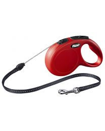 Flexi New Classic Cord Dog Lead, Red 12kg - Small, 8m (26ft)