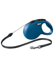 Flexi New Classic Cord Dog Lead, Blue 12kg - Small, 8m (26ft)