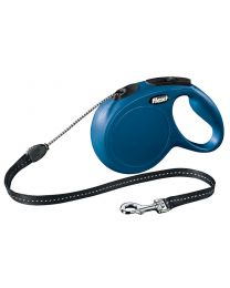 Flexi New Classic Cord Dog Lead, Blue 20kg - Medium, 8m (26ft)