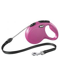 Flexi New Classic Cord Dog Lead, Pink 20kg - Medium, 5m (16ft)