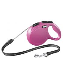 Flexi New Classic Cord Dog Lead, Pink 20kg - Medium, 8m (26ft)