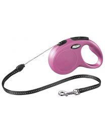 Flexi New Classic Cord Dog Lead, Pink 12kg - Small, 5m (16ft)
