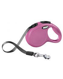 Flexi New Classic Tape Dog Lead, Pink 12kg - Extra Small, 3m (10ft)
