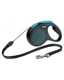Flexi Design Cord Dog Lead, Blue Dot 12kg - Small, 5m (16ft)