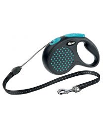 Flexi Design Cord Dog Lead, Blue Dot 20kg - Medium, 5m (16ft)