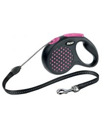 Flexi Design Cord Dog Lead, Pink Dot 12kg - Small, 5m (16ft)