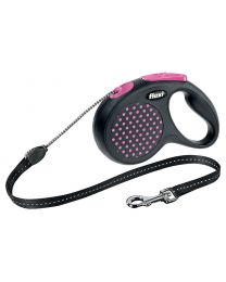 Flexi Design Cord Dog Lead, Pink Dot 20kg - Medium, 5m (16ft)