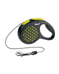 Flexi Design Cord Dog Lead, Yellow Dot 8kg - Extra Small, 3m (10ft)