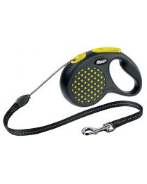 Flexi Design Cord Dog Lead, Yellow Dot 12kg - Small, 5m (16ft)