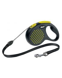 Flexi Design Cord Dog Lead, Yellow Dot 20kg - Medium, 5m (16ft)