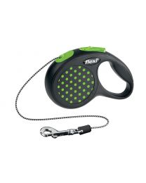 Flexi Design Cord Dog Lead, Green Dot 8kg - Extra Small, 3m (10ft)