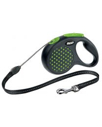 Flexi Design Cord Dog Lead, Green Dot 12kg - Small, 5m (16ft)