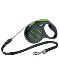Flexi Design Cord Dog Lead, Green Dot 20kg - Medium, 5m (16ft)