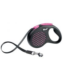 Flexi Design Tape Dog Lead, Pink Dot 15kg - Small, 5m (16ft)