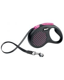 Flexi Design Tape Dog Lead, Pink Dot 50kg - Large, 5m (16ft)