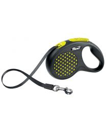 Flexi Design Tape Dog Lead, Yellow Dot 15kg - Small, 5m (16ft)
