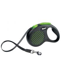 Flexi Design Tape Dog Lead, Green Dot 50kg - Large, 5m (16ft)